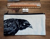 Zipper Pencil Case, Original Raven/ Crow or Bison, or Donkey, or Horse,  Screen Print, Small Tool Pouch, Crochet Hook Case