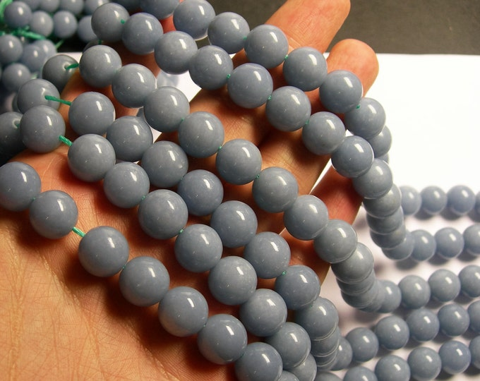 Angelite - 12 mm round beads -1 full strand - 33 beads - A quality - Genuine natural Angelite - RFG1054