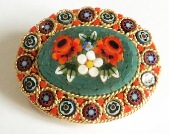 Vintage Micro Mosaic Brooch,,, c.1950s Italian... Bright Red Green Gold