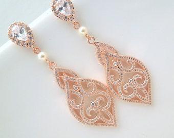 Pearl Earrings Bridal Earrings Rose Gold Earrings Swarovski Pearl Earrings Bridal Pearl chandelier Earrings Rhinestone Earrings SERENA