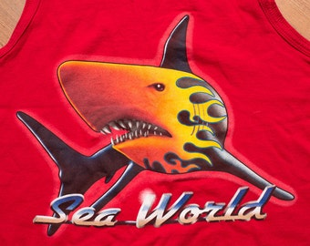 SeaWorld Shark Red Tank Top, Rad Angry Flaming Graphic, Vintage 80s