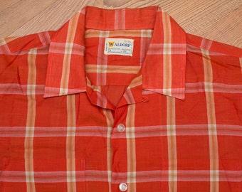 Waldorf Orange Plaid Button Up Shirt, Western Rockabilly, Vintage 60s-70s