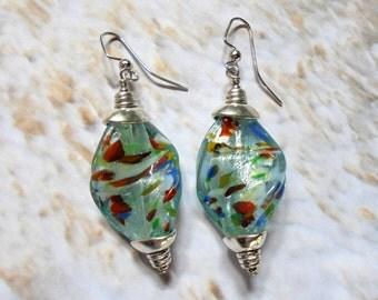 Speckled Light Blue Twist Earrings (2900)