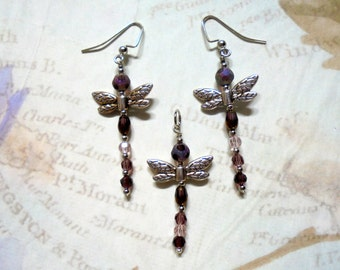 Amethyst and Silver Dragonfly Pendant and Earrings (2723)