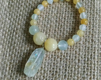 Rough Cut Aquamarine and Peruvian Opal Circle Pendant Necklace