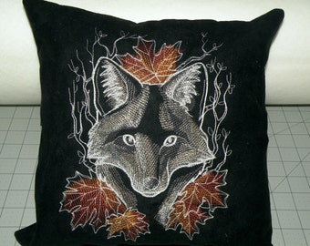 Nocturnus- Fox Embroidered Accent Pillow Cover