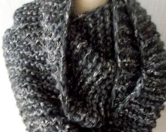 Handknitted  Chunky Cowl Shoulder Warmer in Dark Grey Black Brown for Men Women Soft Warm