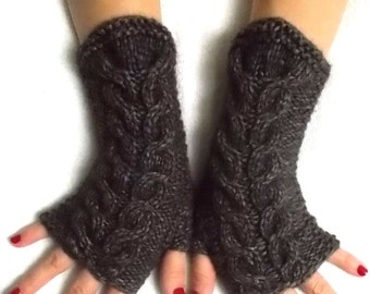 Fingerless Gloves Cabled Wrist Warmers in Brown Women Winter Accessory