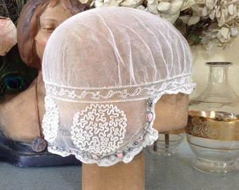 French 1920s net embroidered cloche flapper art deco wedding summer hat