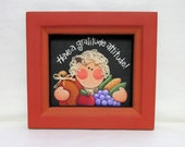 Thanksgiving Sign, Girl with Produce, Have a Gratitude Attitude Sign, Hand Painted, Hand Crafted Wood Frame, Pumpkin, Apple, Corn, & Grapes