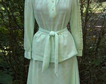 SALE Vintage 70s Knit Shirt and Skirt in Mint Green