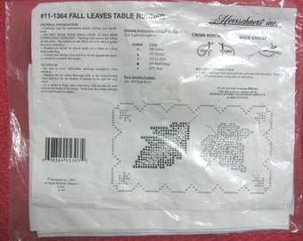 Herrschners Inc Stamped Cotton Fall Leaves Table Runner 11-1364 Embroidery