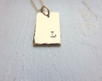 Personalized Initial Necklace. Minimal Necklace. Charm Necklace. Gold Rectangle Necklace. Hand Stamped Jewelry. New Mom Necklace. Grad Gift