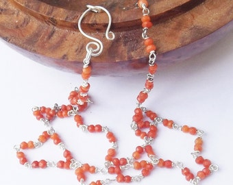 Coral necklace, orange beaded necklace, real coral, natural coral, sterling silver, orange necklace, bright colours, wired necklace