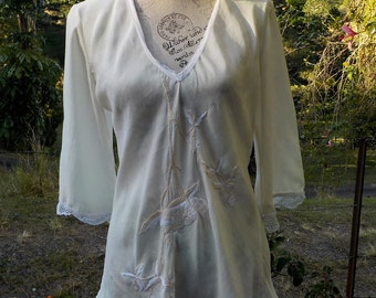 embroidered cream silk top, hippy, bohemian, upcycled,  medium / large