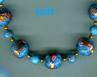 Venetian Murano Fiorato Wedding Cake Bead Necklace, Turquoise N322T
