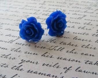 Cobalt Blue Resin Rose Post Earrings
