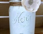 Rustic Mint Green Centerpiece Jar, Shabby Chic Jar Centerpiece, Shabby Chic Country Wedding Centerpiece Jar, Wedding Decorations, Home Decor