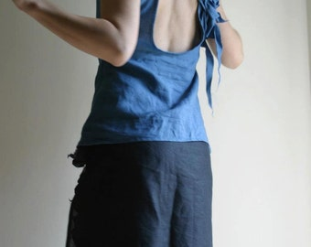 SAMPLE SALE/SIZES M and L/ Blue linen top