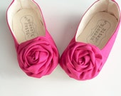 Baby Shoes, Toddler Girl Shoes, Soft Sole Shoes, Infant Shoes, Hot Pink Shoes, Floral Shoes, Valentine's Day Shoes, Girl Shoes- Abella