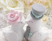 Love Birds Wedding Cake Topper, White, Blush Pink, Mint and Grey, Bride and Groom Keepsake, Fully Customizable