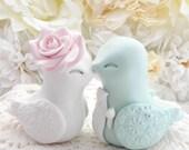Love Bird Wedding Cake Topper, White, Blush Pink and Mint Green, Bride and Groom Keepsake, Fully Custom