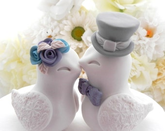 Love Birds Wedding Cake Topper, White, Dusty Purple, Turquoise  and Grey, Bride and Groom Keepsake, Fully Customizable