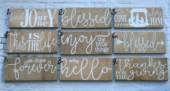 """Decorative Signs, Home Decor, 5"""" x 12"""" Signs, Stained Signs, Modern Signs, Custom Colors, Enjoy the little things, find joy in the journey"""