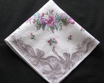Vintage Hanky, Grey Ribbon and Floral Print Hankie, Cotton Hanky, Vintage Floral Handkerchief, Shabby Chic Floral Hankie
