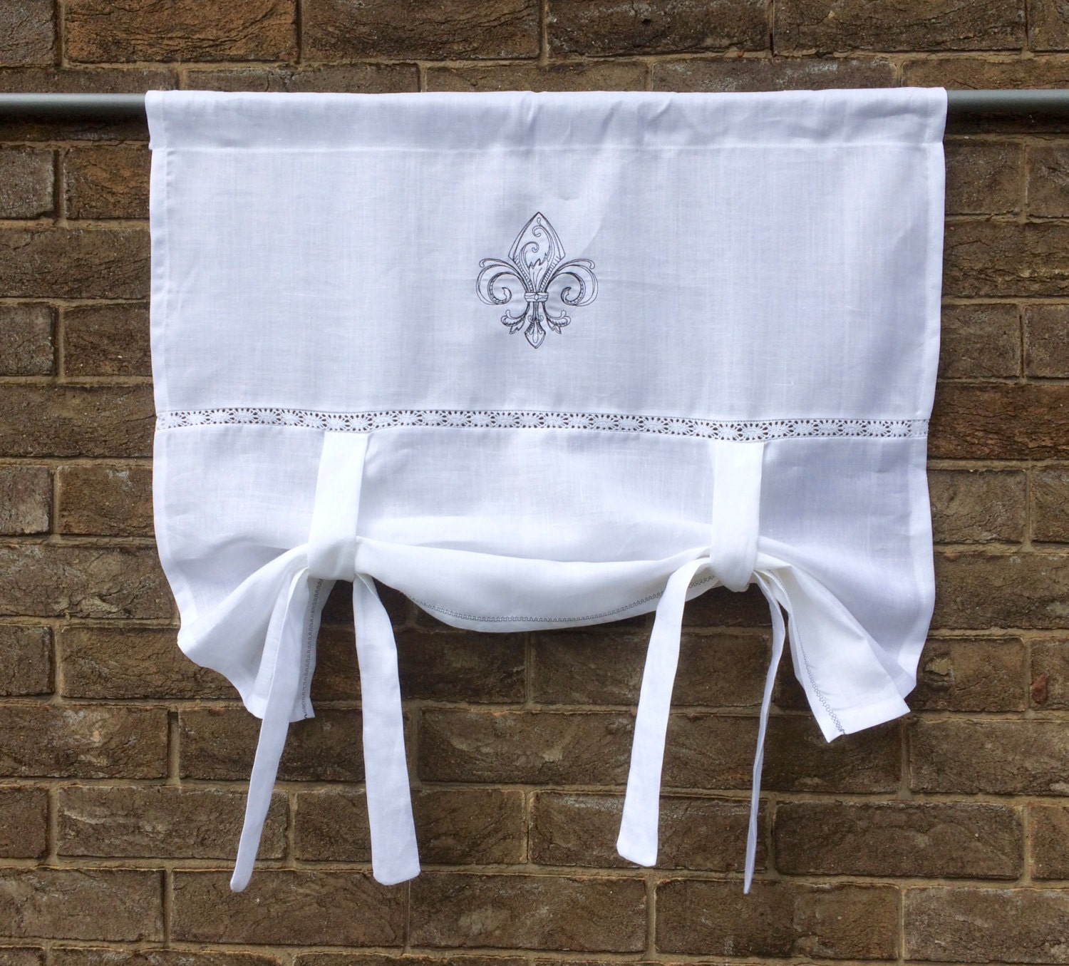 Linen Window Valance Curtain Monogram French Style Rollup