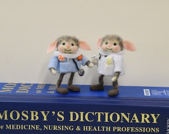 """Bunny """"Doctor"""" Or """"Dentist""""!  Needle Felted!  Free Shipping In The U.S.A. Too!"""