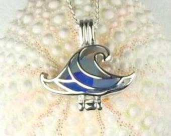 Wave Jewelry, GENUINE Sea Glass Necklace, Wave Necklace, Wave Locket, Seaglass Jewelry, Beach Necklace, Beach Jewelry, Blue Ocean Necklace