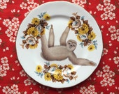 Sloth and Yellow Floral Vintage Illustrated Plate