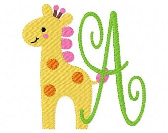 Giraffe Zoo Animal // Machine Embroidery Monogram Font Design Set // Joyful Stitches