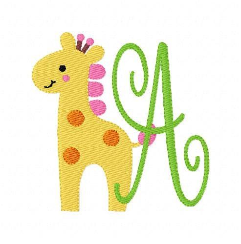 Giraffe zoo animal machine embroidery monogram font