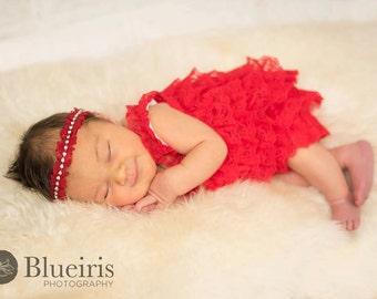 Baby Headband, Ruffle Red Headband, Rhinestone Headband, Christmas Headband, Toddler Headband, Newborn Photo Prop, Baby Girl Headband