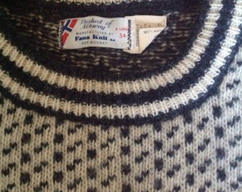 Vintage Product of Norway Fana Knit Men's Wool Sweater XL 54