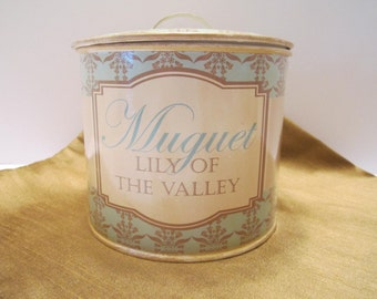 Muguet Lily of the Valley Vintage Tin Container Canister - Aqua Cream Taupe Coloring - Boudoir Box - Bathroom Container - Vanity Box