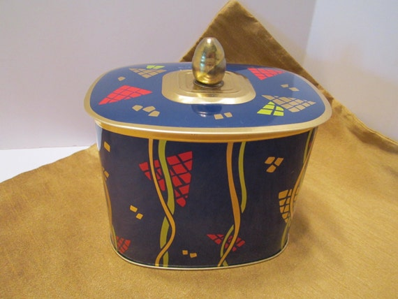 Vintage Blue Tin Multi-Color - Red Gold Lime - Modern Design - Made in West Germany