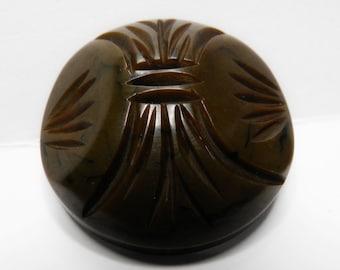 Mossy Green Brown Bakelite Coat Button