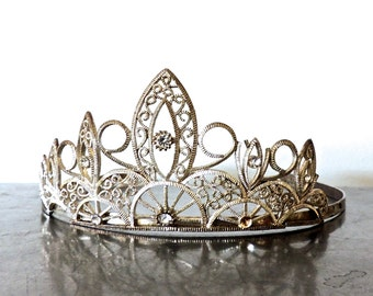 vintage rhinestone tiara - 1950s silver filigree princess pageant crown