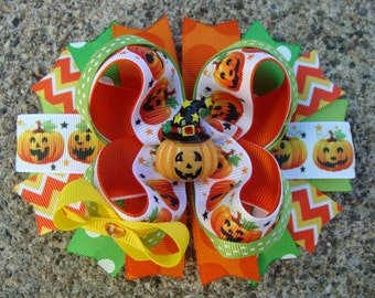 Halloween hair bow Pumpkin Hair Bow Halloween hair bow large hair bow Stacked Boutique Hair Orange hair bow holiday hair bow