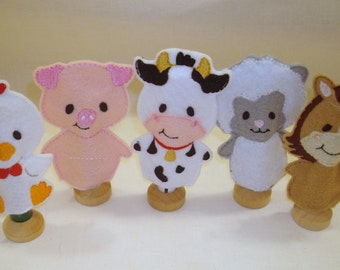 Farm Finger Puppets - Barnyard Finger Puppets with Rooster, Cow , Sheep , Pig and Horse