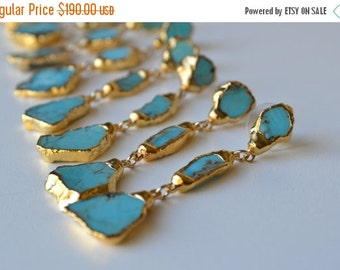 XMAS IN JULY Turquoise Dangles /// Gemstone Gold Dipped Earrings