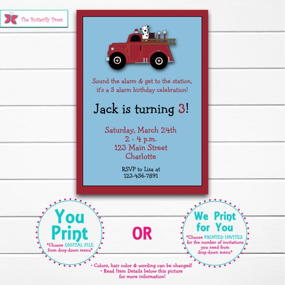 Fire truck birthday invitation -- firetruck firefighter birthday party -- custom invitation - You print or i print