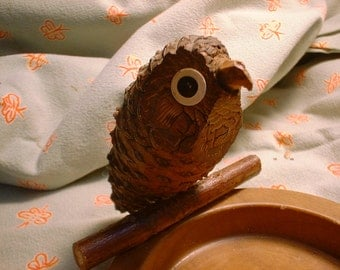 Surely ONE of a Kind OWL Dish for Trinkets a Pine Cone Bird