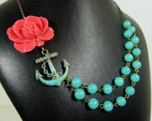 Anchor Sailor Necklace, Coral Rose, Teal Green Aqua Beads, Navy Themed, Two Strand Summer Necklace - 0121