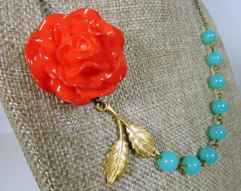 Tangerine Orange Rose Brass Leaf Aqua Blue Green Beads Flower Necklace, Coral Teal Brass Branch - 0107