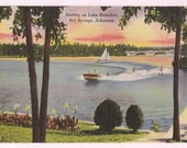 Boating on Lake Hamilton Hot Springs National Park Arkansas Sailboat and Motor Boat Vintage Lake Scene
