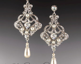 Long Pearl Chandelier Bridal Earrings - DENISE - Earings Available in Gold or Silver
